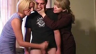 Masturbating by step mom and aunt handjob